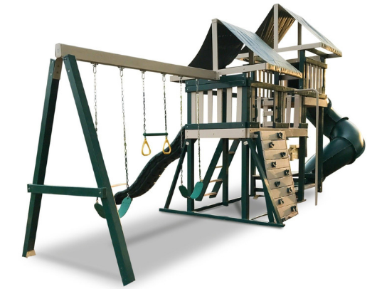 congo monkey swing set in green and sand color
