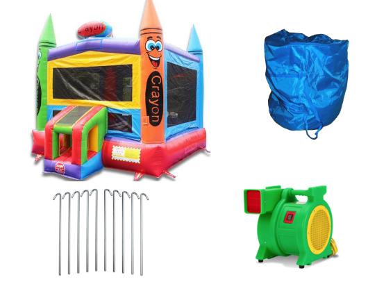 crayon commercial bounce house with blower and accessories