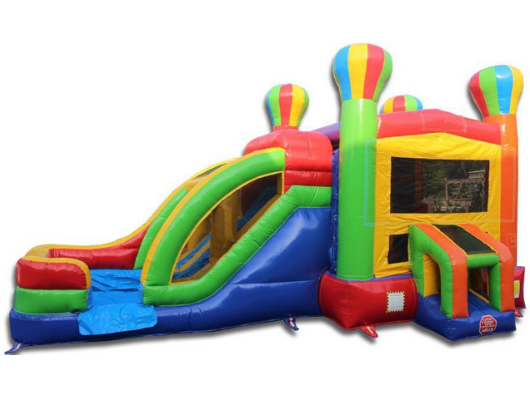 dual lane balloon combo bounce house with slide