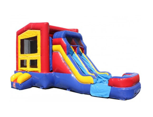 inflatable module commercial bounce house with dual lane slide