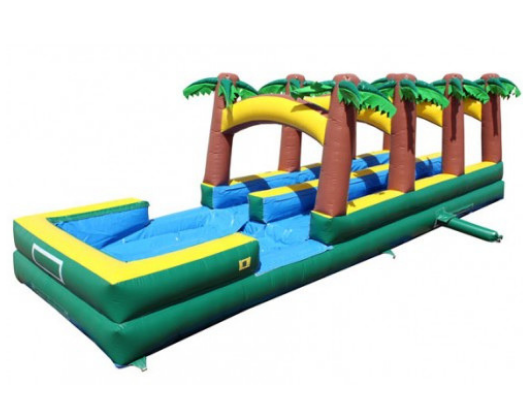 dual lane paradise inflatable slip and slide with pool