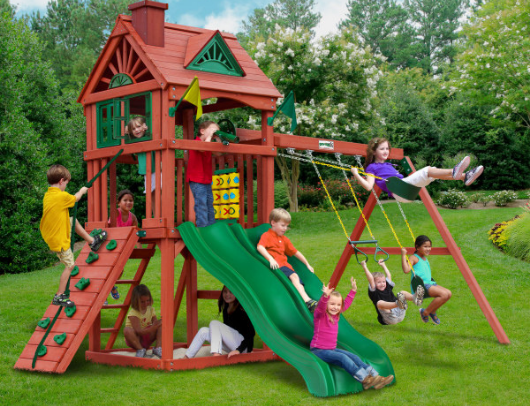 kids playing outdoors on the gorilla double down swing set