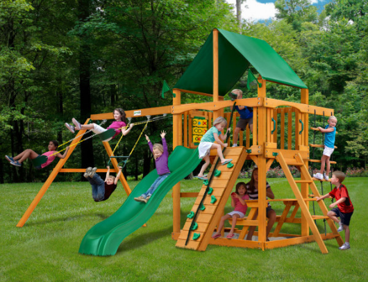 kids playing on gorilla playsets chateau swing set