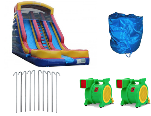 included when you buy the dual lane commercial inflatable water slide