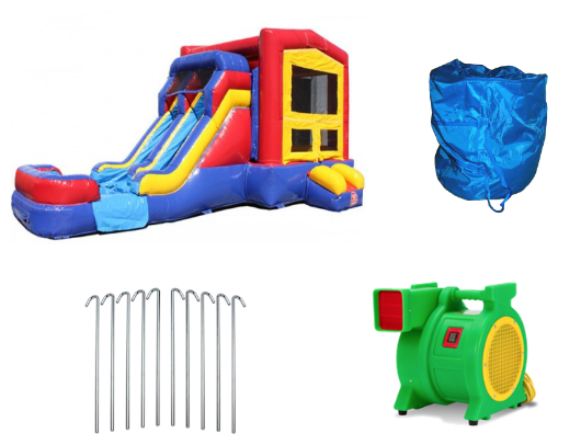 blower and accessories included with purchase of commercial bounce house