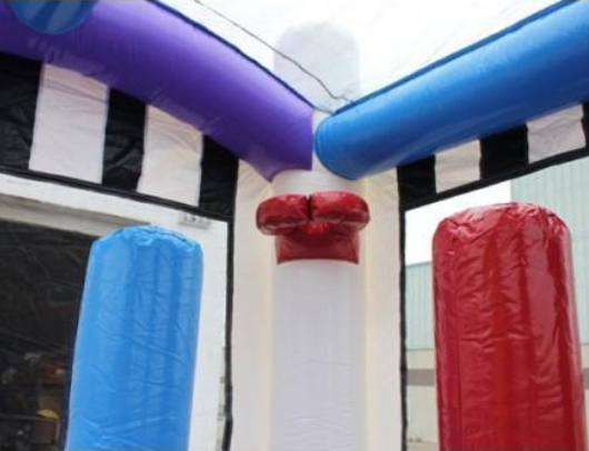 basketball hoop and pop ups inside all sports commercial bounce house