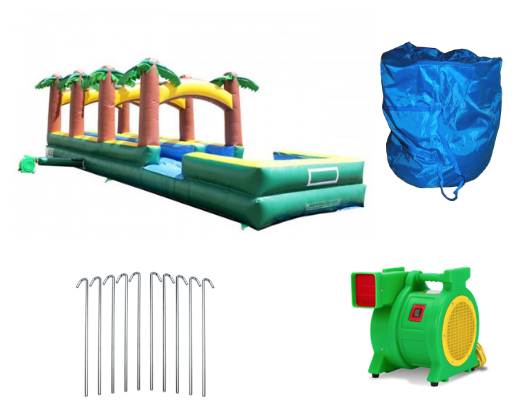 inflatable slip and slide with blower and accessories