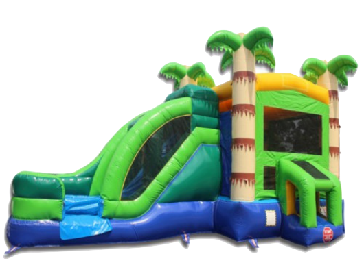 palm tree commercial bounce house with slide combo