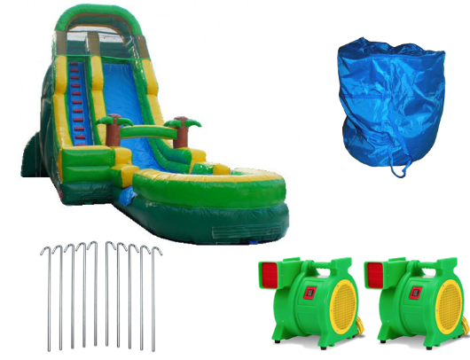 palm tree screamer commercial water slide with blowers and accessories