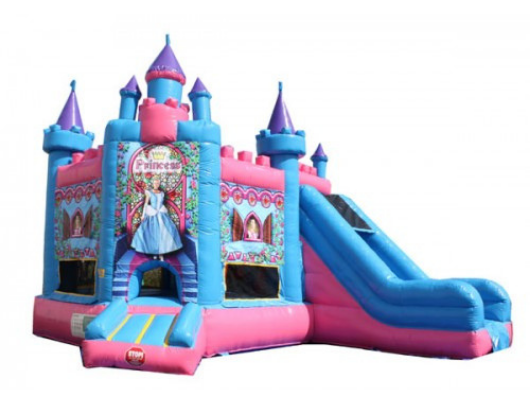 princess castle bounce house with slide combo