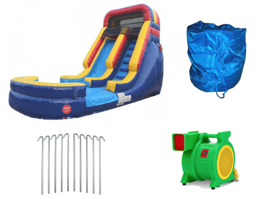 rainbow inflatable water slide with blower and accessories