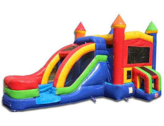 rainbow module combo bounce house with slide