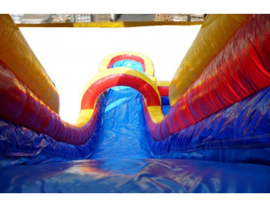 rainbow screamer inflatable slide can be used wet or dry