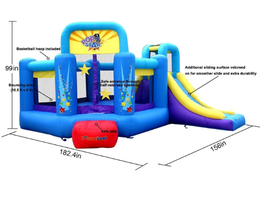 safety features in bounceland pop star bounce house with slide
