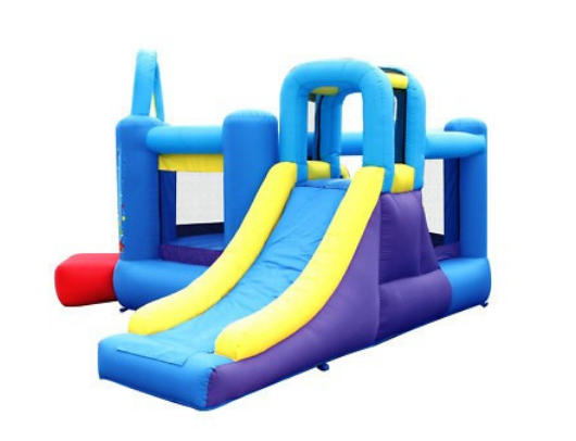 bounceland pop star bounce house with inflatable slide and basketball hoop