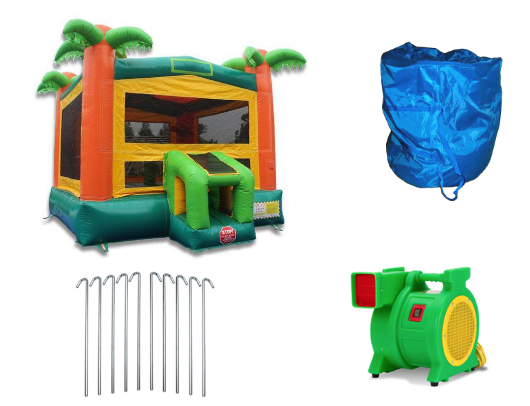 tropical commercial bounce house with blower and accessories
