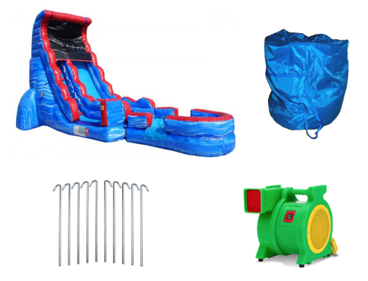 tsunami screamer slide with blower and accessories