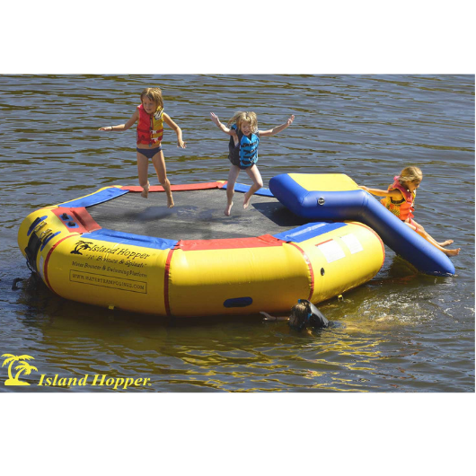 Island Hopper 10 foot Water bouncer with slide water trampoline