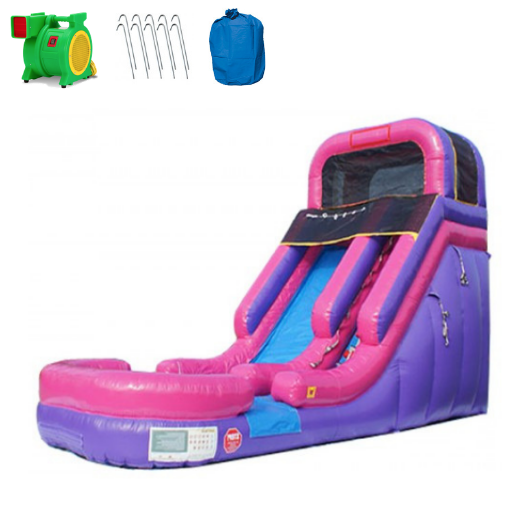 16'H Pink Inflatable Slide Wet n Dry