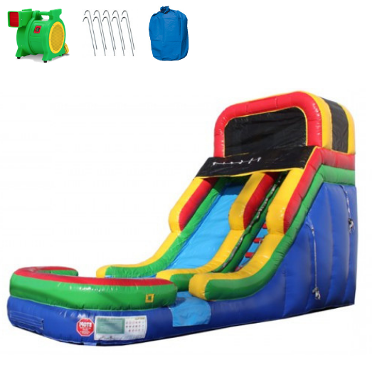 Inflatable Slide - 16'H Rainbow Inflatable Slide Wet/Dry - The Bounce House Store