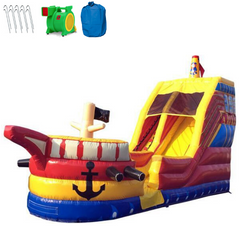 Inflatable Slide - 18'H Pirate Inflatable Water Slide Wet/Dry - The Bounce House Store