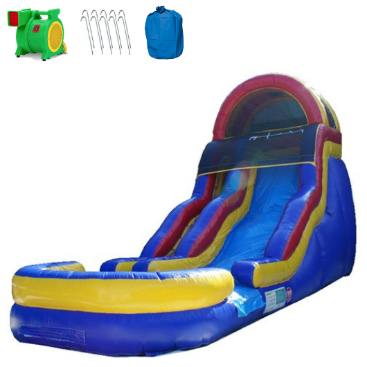 Inflatable Slide - 18'H Blue Bubble Bump Slide Wet/Dry - The Bounce House Store