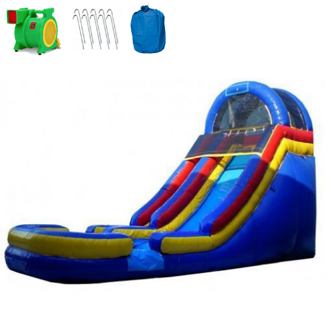 Inflatable Slide - 18'H Cool Blue Inflatable Slide Wet/Dry - The Outdoor Play Store