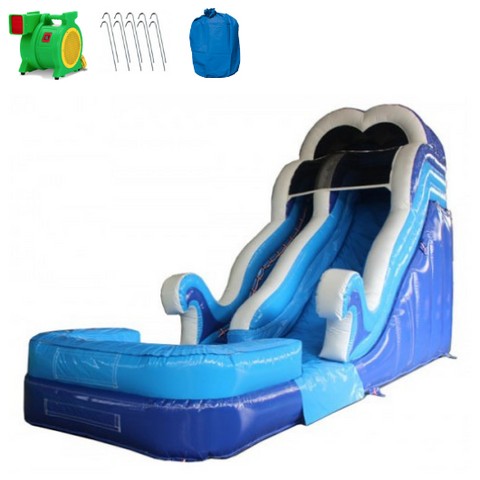 18'H Double Dip Commercial Inflatable Slide - Blue - The OUtdoor Play Store