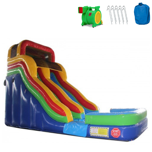 18'H Double Dip Commercial Inflatable Slide - Rainbow - The Outdoor Play Store