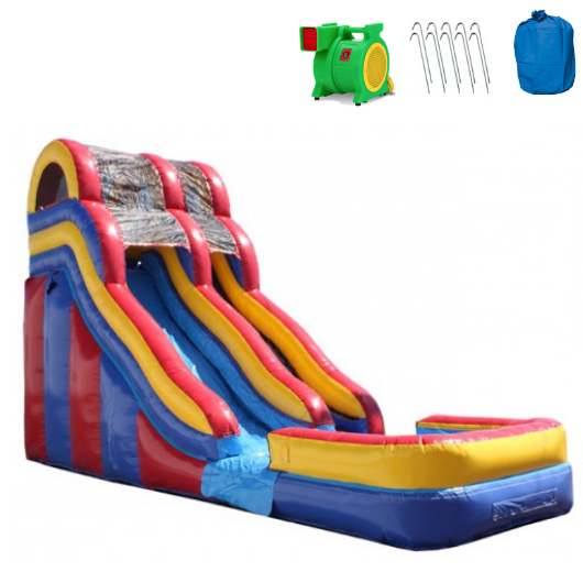 18'H Double Dip Commercial Inflatable Slide - Red and Blue