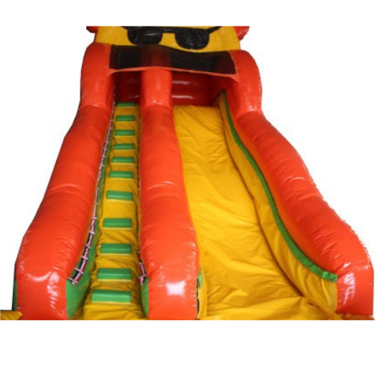 18'H Sunny Inflatable Slide Wet n Dry - view from bottom of slide - The Outdoor Play Store