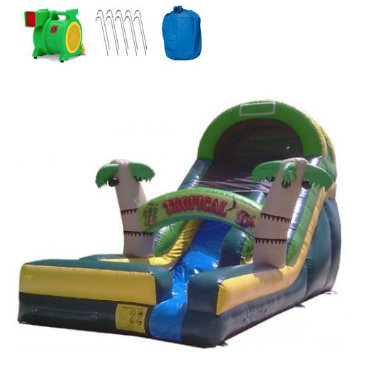 18'H Tropical Inflatable Slide Wet/Dry