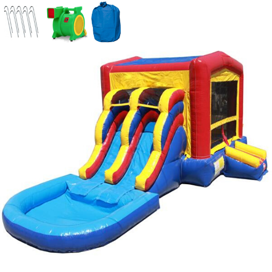 2 Lane Classic Module Bounce House Combo with Pool