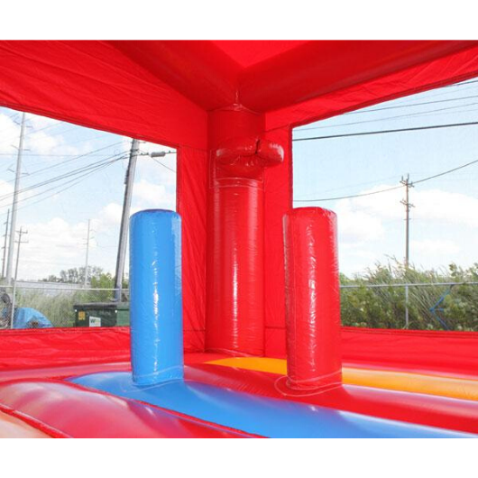 14' Commercial Bounce House Fire Station with basketball hoop