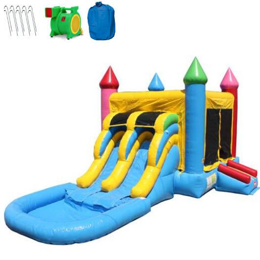 Commercial 2 Lane Bounce House Combo wet n dry