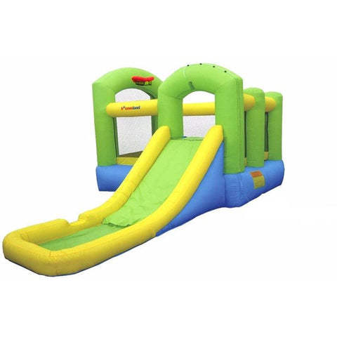 Residential Bounce House - Bounceland Bounce 'N Splash Island Jumper With Water Slide - The Bounce House Store