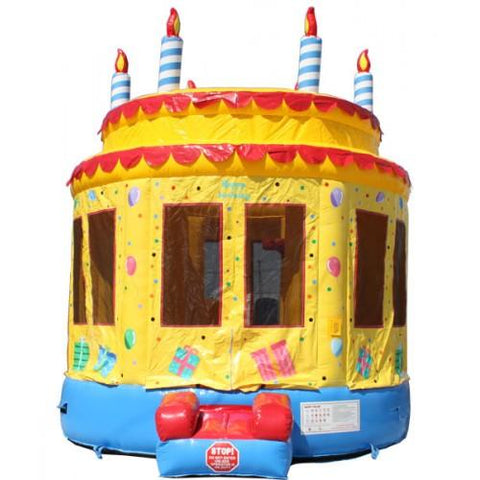 birthday cake themed commercial bounce house