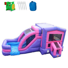 2 Lane Pink Combo Bounce House Wet n Dry