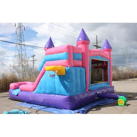 side view of the princess castle commercial bounce house combo