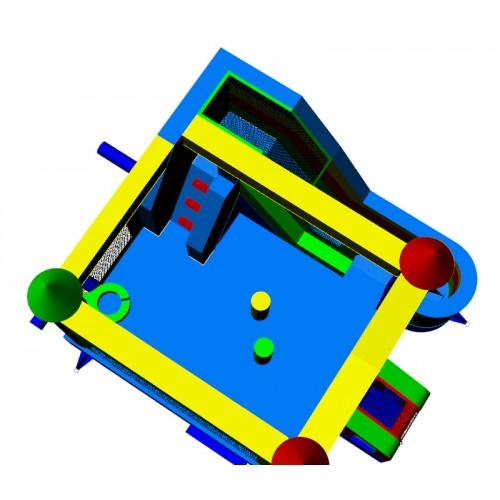 overhead view of the commercial bounce house 4 in 1 combo