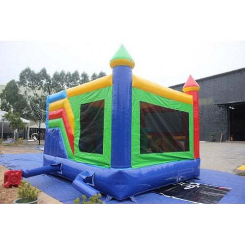 outside view of the rainbow castle combo with slide