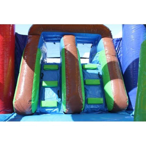 Commercial Bounce House - 2-Lane Rainbow Castle Combo Wet n Dry - The Bounce House Store