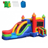 Image of Commercial Bounce House - 2-Lane Rainbow Castle Combo Wet n Dry - The Bounce House Store