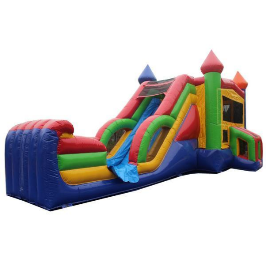 RAINBOW CASTLE COMMERCIAL BOUNCE HOUSE COMBO WET N DRY