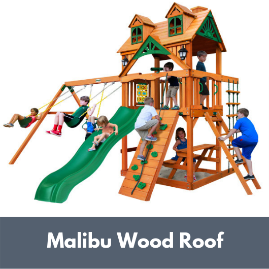 Chateau Wooden Cedar Swing Set with Malibu Wood Roof