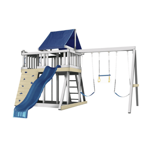 congo monkey playsystem swing set white with blue