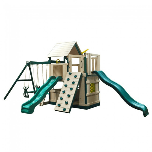 Congo Safari Lookout and Climber Swing Set Green and Sand