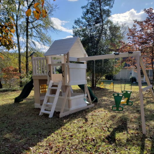 Congo Safari Lookout and Climber Swing Set White and Sand