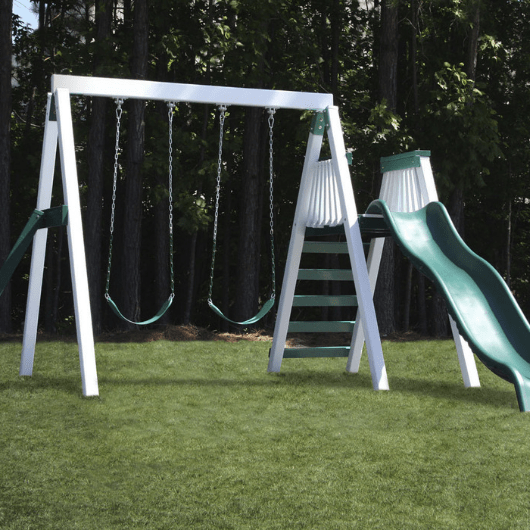 Congo Swing'N Monkey 2 Swing Set in White and Green color