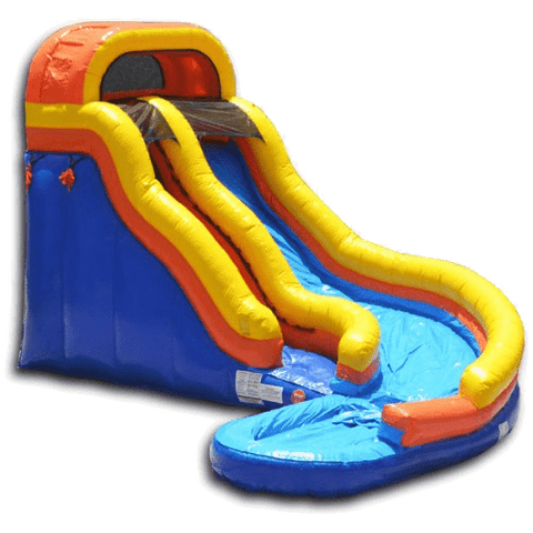 yellow blue and orange water slide that curves down into a pool